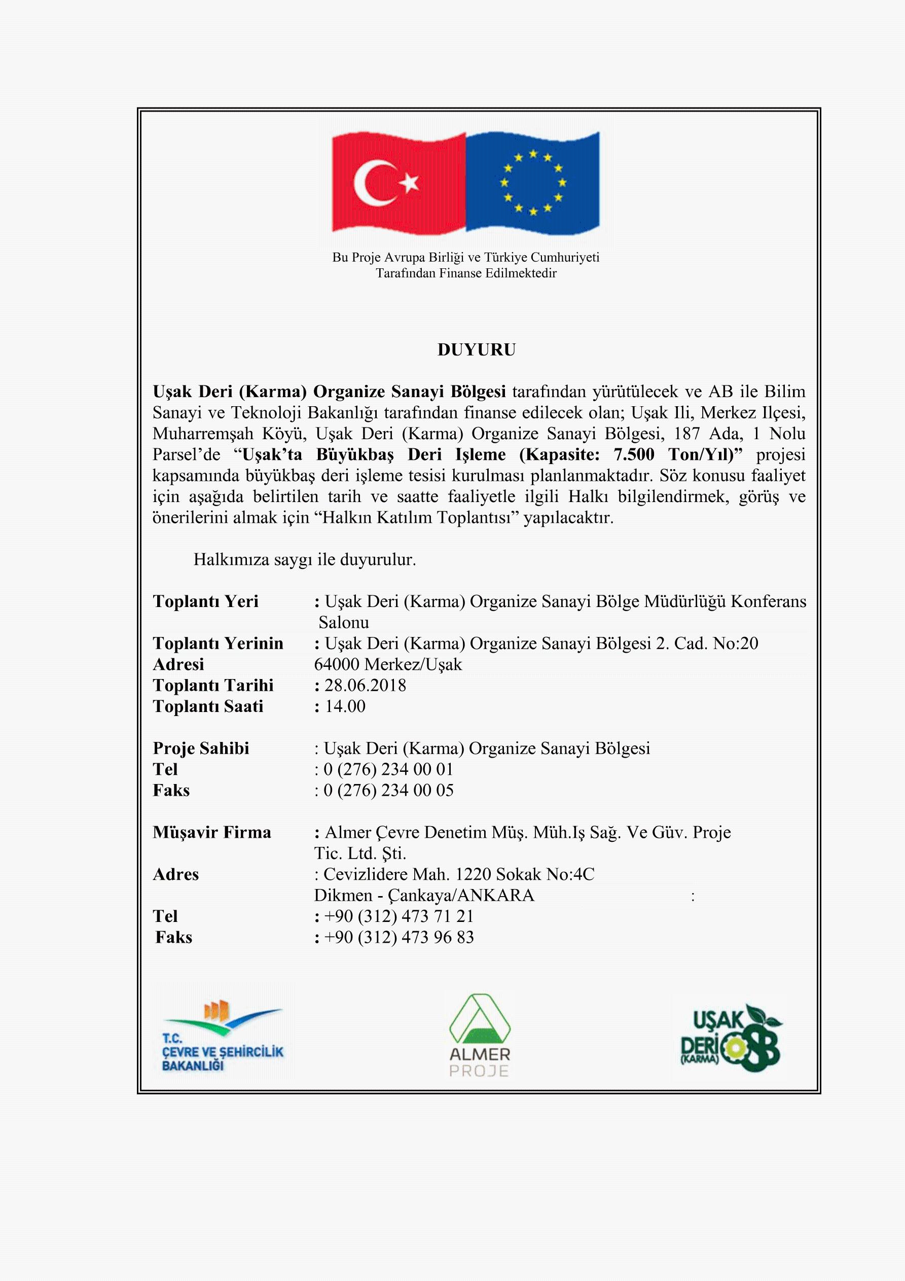 Çed sürecine halkın katılımı toplantı daveti