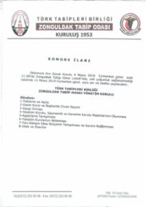 Zonguldak Tabip Odası Genel Kurul çağrısı