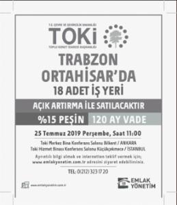 Trabzon/Ortahisar'da 18 adet işyeri ihale ile satılacaktır